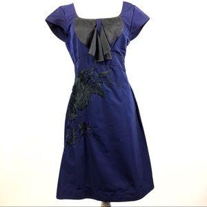 Anthropologie Florart Dress Blue &Black Size 10